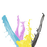 Malen Sie Spritzen von Cyan-blauem, von Magentarotem, von Gelbem und von Schwarzem Stockfoto