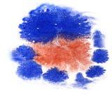 Malen Sie Spritzenbraun, Fleck der blauen Tinte und weißes brushe der abstrakten Kunst Stockfotos