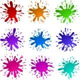 Malen Sie Tinten-Flecken spritzt Satz Lizenzfreie Stockfotos