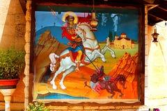 Malen von St George an der griechisch-orthodoxen Kirche von St George, Kafr Cana Kafr Kanna stockfoto