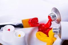 Malende Acrylfarben Lizenzfreies Stockbild