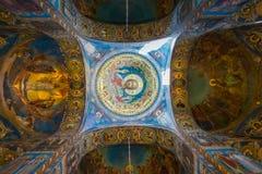 Malende Decke der Kirche des Retters auf Spilled Blut in St Petersburg, Russland stockbild