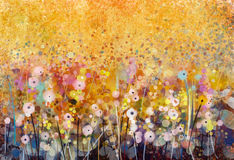 Malende Felder der weißen Blumen des Aquarells Stockbilder