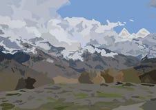 malende Vektorlandschaftsaussichtsplattform die Gebirgswolken und -wald lizenzfreie stockfotos