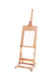 Malendes hölzernes Gestell des Stands mit leerem Segeltuchplakat Lizenzfreie Stockfotografie