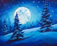 Malendes majestätisches Winter-Nachtgebirgstal Weihnachtsstimmungs-Illustration Kunst Lizenzfreie Stockfotos