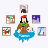 Maler beruf ikonen abbildung Lizenzfreie Stockfotografie
