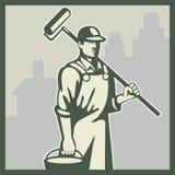Maler-Lack-Rollen-Arbeitskraft-Haus Retro- Stockfotos
