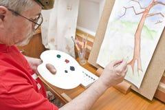 Maler mit Anstrich stockfotos