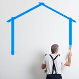 Maler Painting House Shape Lizenzfreie Stockfotos
