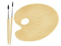 Maler-Palette mit Hilfsmitteln Stockfoto