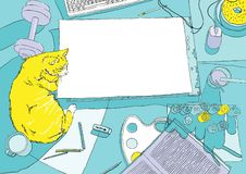 Malerarbeitsplatz in der Draufsicht mit gelber Katze Stockfotografie