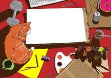 Malerarbeitsplatz in der Draufsicht mit roter Katze Stockfotografie