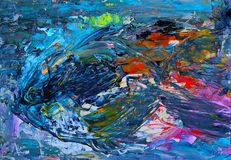 Malerei der abstrakten Kunst der Fische stock abbildung