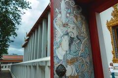 Malerei der alten asiatischen, thailändischen Malerei auf einer Tür bei Wat Phra Chetuphon am Ort bekannt als Wat Pho Stockbilder