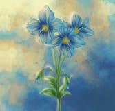 Malerei der blauen Mohnblume mit surrealer Wolke Lizenzfreie Stockfotografie