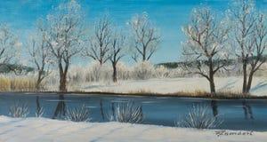 Malerei eines Flusskurses im Winter mit Bäumen