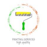 Malerei hält Logo instand Rolle für das Malen und die gemalten Farblinien Lizenzfreie Stockbilder