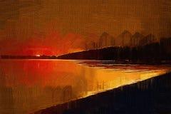 Malerei mit Öleffektsonnenuntergang auf der Bucht stockfotos