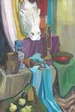 Malerei mit Farben, Stillleben mit einem Gipskopf eines Pferds Lizenzfreie Stockfotos