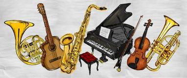 Malerei-Musik-Instrumente vektor abbildung