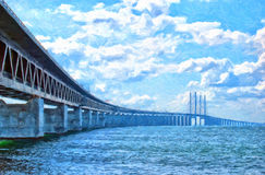Malerei Oresundsbron Digital Stockfoto