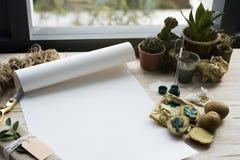 Malerei-Papierkaktuspflanzen auf einem Holztisch Lizenzfreies Stockbild