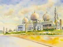 Malerei Sheikh Zayed Grand Mosque in Abu Dhabi stockfotos