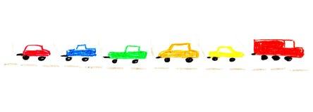 Malerei von lokalisierten bunten Autos Stockfoto