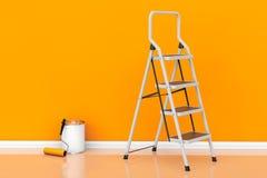 Malerei von Wänden in einem orange Farbkonzept Farbe kann mit Rolle Stockfotografie