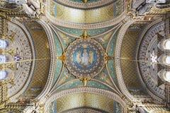 Malereien und Details von Basilika Notre Dame de Fourviere, Lyon Stockfotografie
