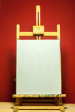 Malereigestell mit weißem Segeltuch für Text im drastischen Licht Stockfotos