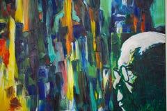 Malereipalette mit Farbenfarbe. Schaffung der abstrakten Kunst Stockfoto