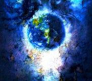 Malereiplanet Erde im Weltraum mit Strukturknistern-Hintergrundeffekt Stockbild