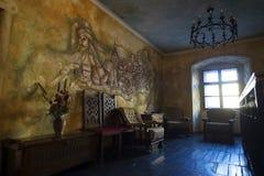 Malereiwand mit Vlad Tepes innerhalb eines Gasthauses Stockfotografie