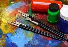 Malereizeichnung Künstler-Tools-Malereispaß Stockfotografie