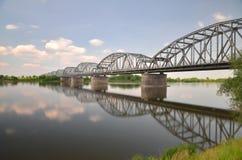 Malerische Ansicht über Brücke über Weichsel in Grudziadz in Polen Stockbilder