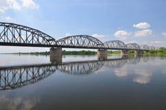 Malerische Ansicht über Brücke über Weichsel in Grudziadz in Polen Lizenzfreie Stockfotografie