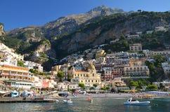 Malerische Ansicht des Dorfs Positano, Italien Stockbilder