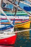 Malerische Ansicht von Booten im Hafen von Collioure, Frankreich stockfotos