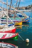 Malerische Ansicht von Booten im Hafen von Collioure, Frankreich stockfoto