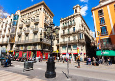 Malerische Häuser am La Rambla, Barcelona. Spanien Lizenzfreies Stockbild