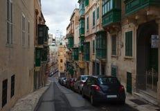 Malerische Häuser von Valletta Stockfotografie