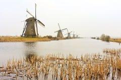 Malerische herbstliche Windmühlen in einer Reihe Lizenzfreie Stockfotos