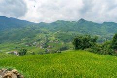 Malerische Landschaft mit Bergen und Reisterrassen Stockfotografie