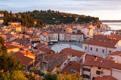 Malerische slowenisch alte Stadt Piran Stockfotografie