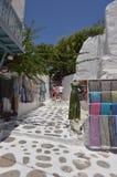 Malerische Straßen-sehr Enge voll von Shops in Chora-Insel von Mikonos Arte History Architecture Lizenzfreie Stockfotografie