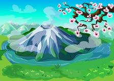 Malerischer japanischer Natur-Landschaftshintergrund Stockbilder