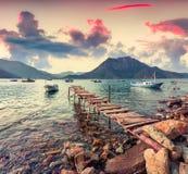 Malerischer Mittelmeermeerblick in der Türkei Bunter Frühling SU Lizenzfreie Stockfotos