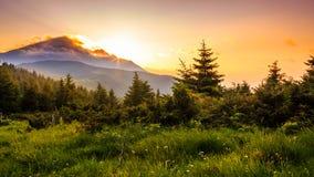 Malerischer Sonnenuntergang in den Bergen, Landschaft Karpaten, Ukraine Lizenzfreies Stockfoto